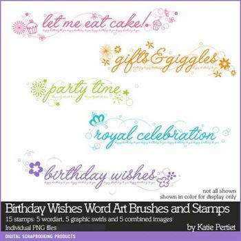 Birthday Wishes Word Art Brushes And Stamps Digital Art - Digital Scrapbooking Kits