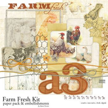 Farm Fresh Collection Digital Art - Digital Scrapbooking Kits