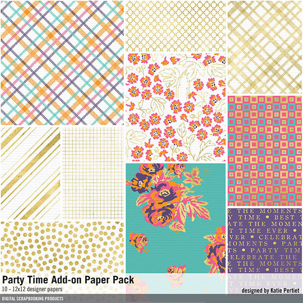 Party Time Add-on Paper Pack Digital Art - Digital Scrapbooking Kits