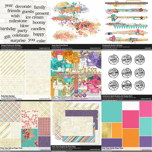 Party Time Birthday Scrapbook Bundle Digital Art - Digital Scrapbooking Kits