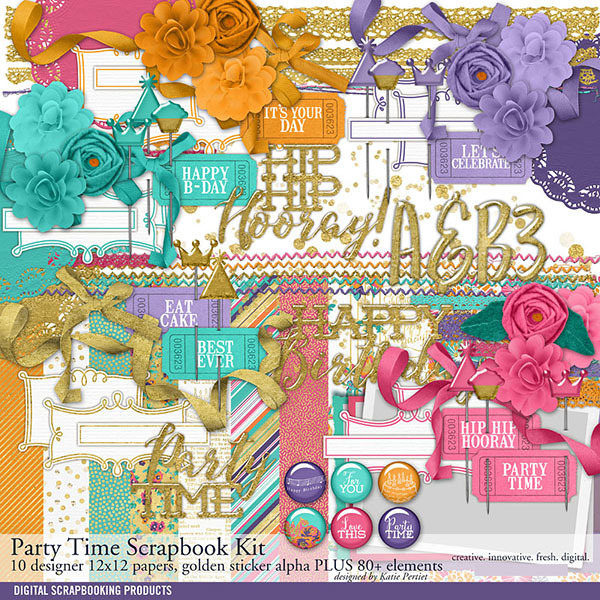 Party Time Birthday Scrapbook Kit Digital Art - Digital Scrapbooking Kits