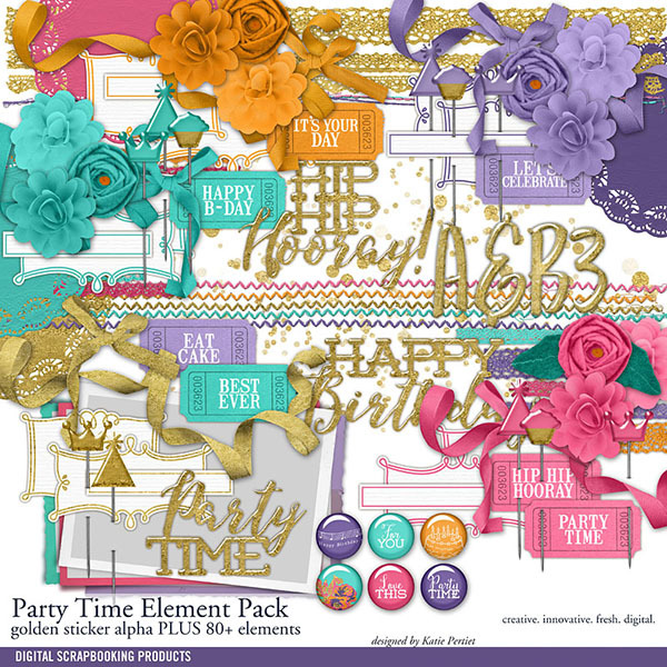 Party Time Element Pack Digital Art - Digital Scrapbooking Kits