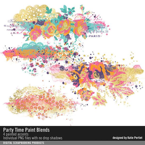 Party Time Paint Blends Digital Art - Digital Scrapbooking Kits