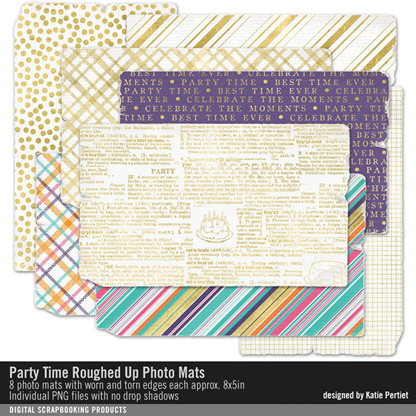Party Time Roughed Up Photo Mats Digital Art - Digital Scrapbooking Kits