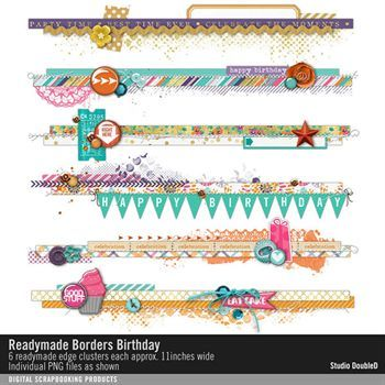 Readymade Borders Birthday Digital Art - Digital Scrapbooking Kits