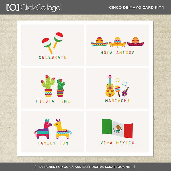 Cinco De Mayo Card Kit 1 Digital Art - Digital Scrapbooking Kits