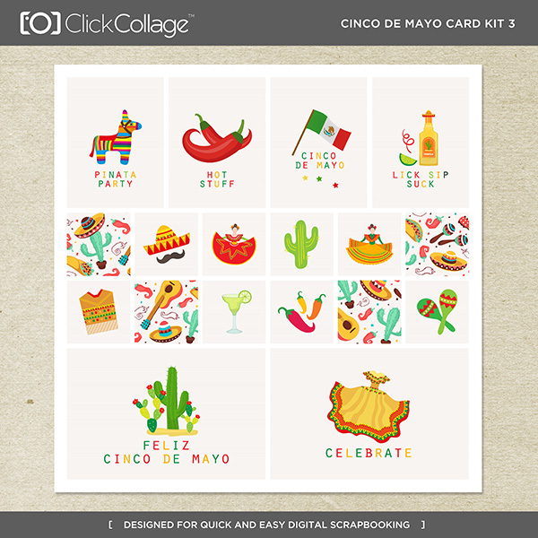 Cinco De Mayo Card Kit 3 Digital Art - Digital Scrapbooking Kits