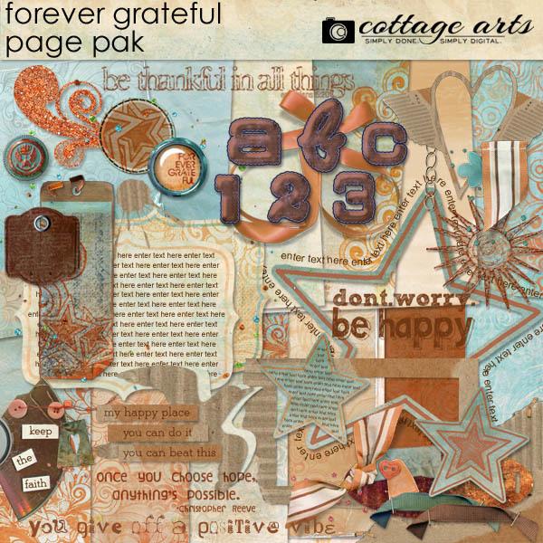 Forever Grateful Page Pak Digital Art - Digital Scrapbooking Kits