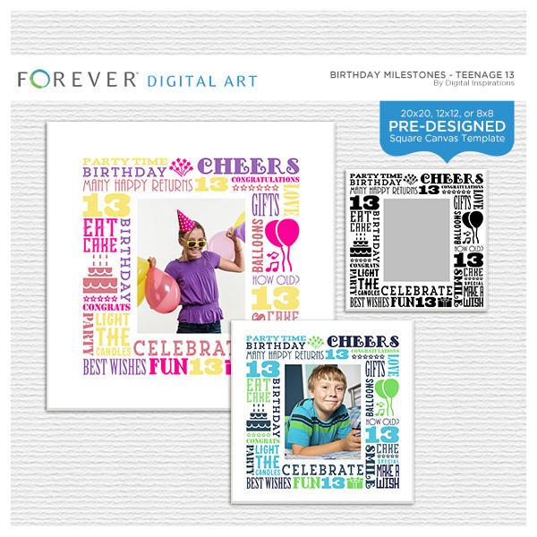Birthday Milestones - Teenage 13 Digital Art - Digital Scrapbooking Kits