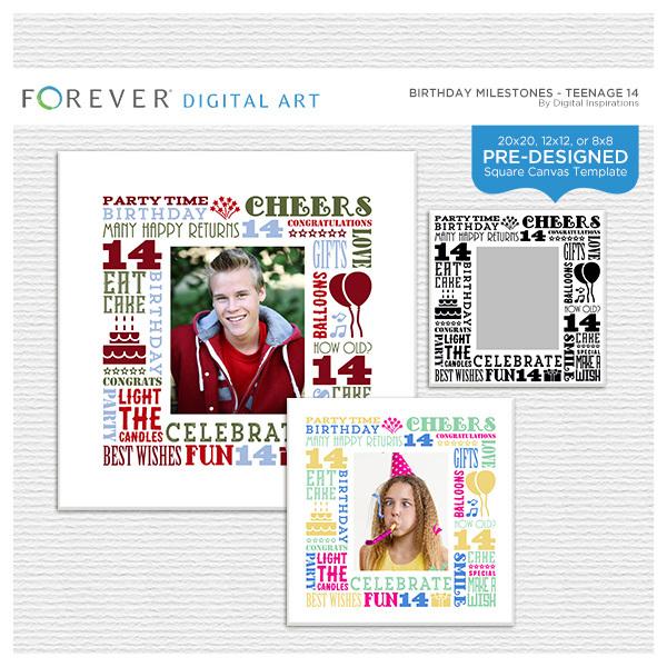 Birthday Milestones - Teenage 14 Digital Art - Digital Scrapbooking Kits