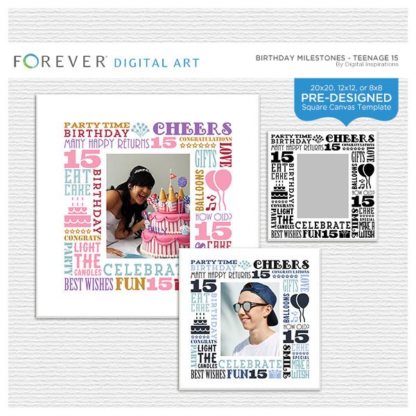 Birthday Milestones - Teenage 15 Digital Art - Digital Scrapbooking Kits