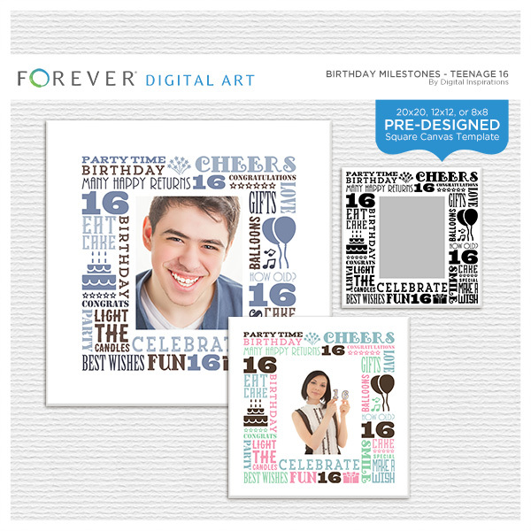 Birthday Milestones - Teenage 16 Digital Art - Digital Scrapbooking Kits
