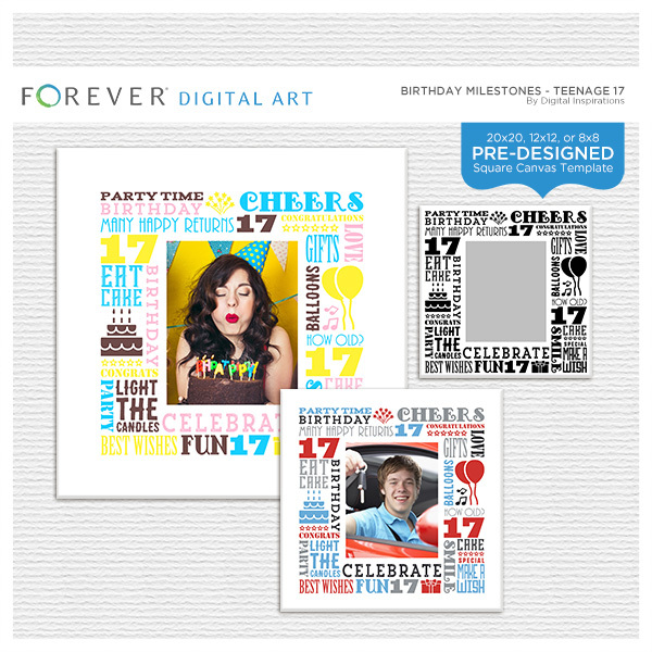 Birthday Milestones - Teenage 17 Digital Art - Digital Scrapbooking Kits