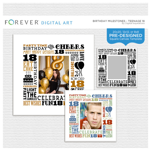 Birthday Milestones - Teenage 18 Digital Art - Digital Scrapbooking Kits