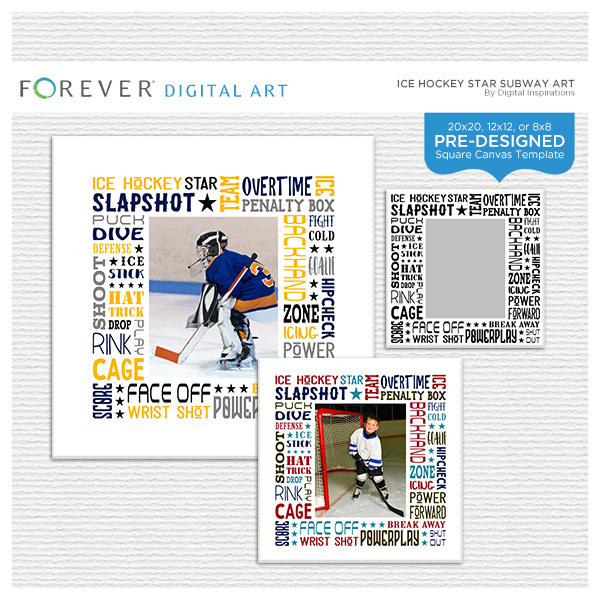 Ice Hockey Star Subway Art Canvas