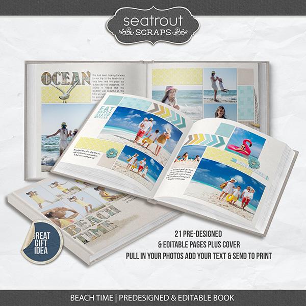 Beach Time Pre-designed & Editable Book Digital Art - Digital Scrapbooking Kits