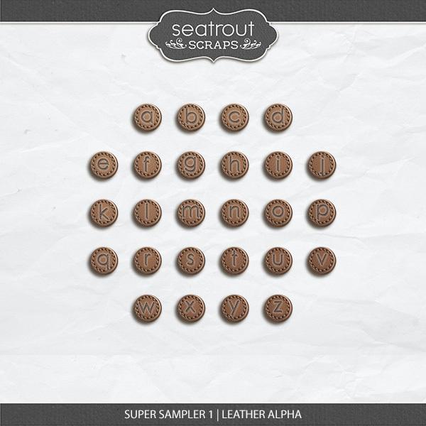 Super Sampler 1 - Leather Alpha Digital Art - Digital Scrapbooking Kits