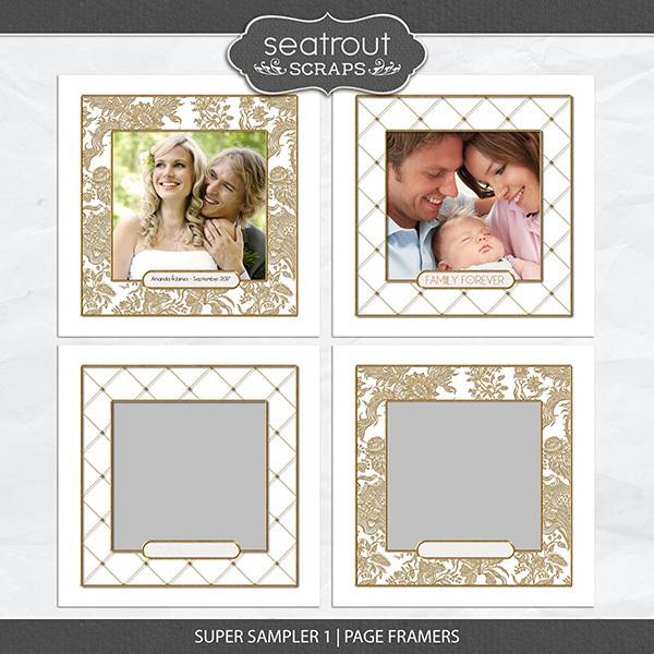 Super Sampler 1 - Page Framers Digital Art - Digital Scrapbooking Kits