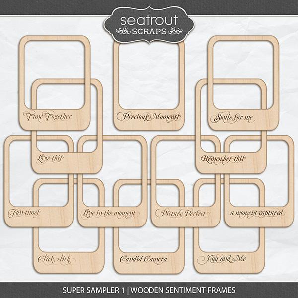 Super Sampler 1 - Wooden Sentiment Frames Digital Art - Digital Scrapbooking Kits