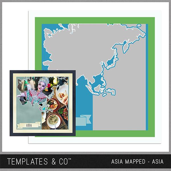 Asia Mapped Digital Art - Digital Scrapbooking Kits