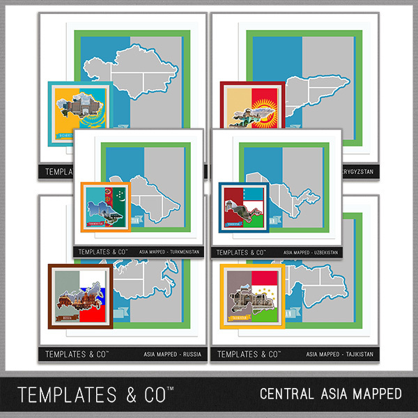 Central Asia Mapped Digital Art - Digital Scrapbooking Kits