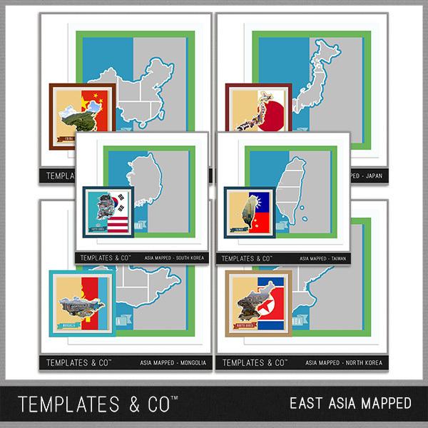 East Asia Mapped Digital Art - Digital Scrapbooking Kits