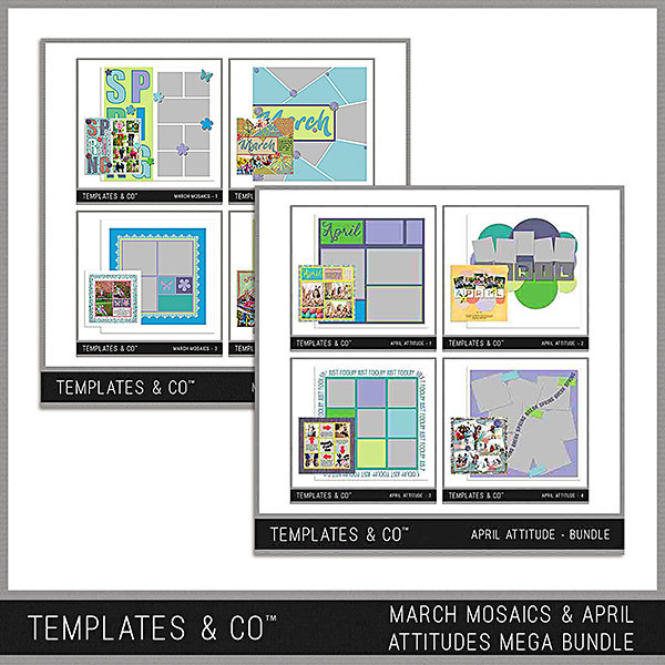 March Mosaics And April Attitudes Mega Bundle Digital Art - Digital Scrapbooking Kits