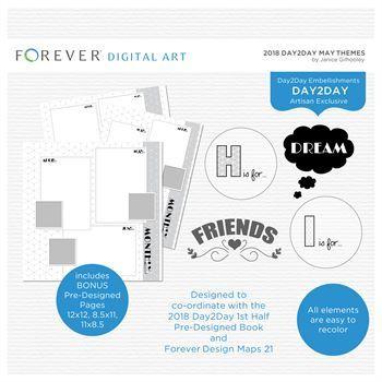 2018 Day2Day May Themes Digital Art - Digital Scrapbooking Kits