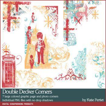 Double Decker Corners Digital Art - Digital Scrapbooking Kits