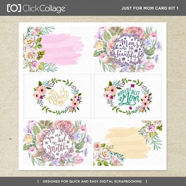 Just For Mom Card Kit 1 Digital Art - Digital Scrapbooking Kits
