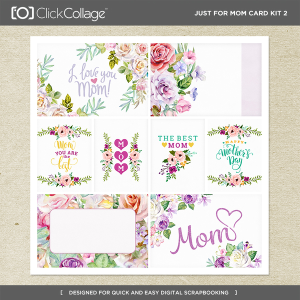 Just For Mom Card Kit 2 Digital Art - Digital Scrapbooking Kits