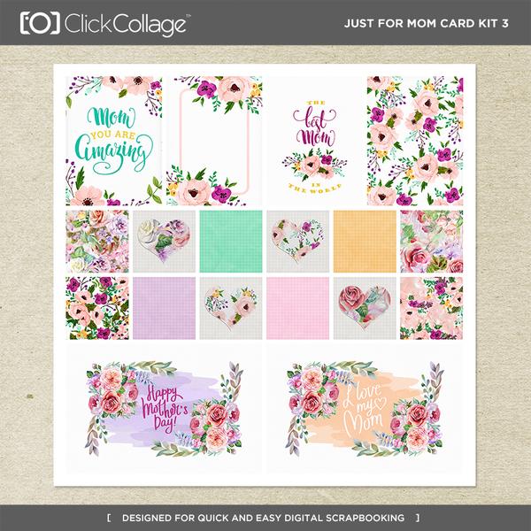 Just For Mom Card Kit 3 Digital Art - Digital Scrapbooking Kits