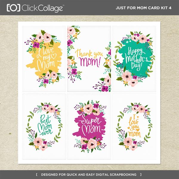 Just For Mom Card Kit 4 Digital Art - Digital Scrapbooking Kits