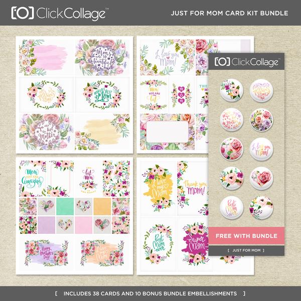 Just For Mom Card Kit Bundle Digital Art - Digital Scrapbooking Kits