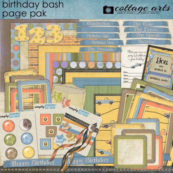 Birthday Bash Page Pak Digital Art - Digital Scrapbooking Kits