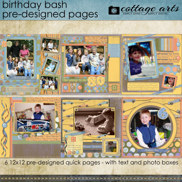 Birthday Bash Pre-designed Pages Digital Art - Digital Scrapbooking Kits
