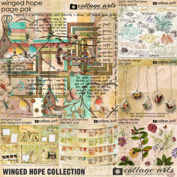 Winged Hope Collection Digital Art - Digital Scrapbooking Kits