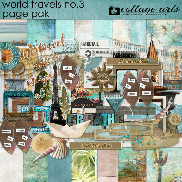 World Travels 3 Page Pak Digital Art - Digital Scrapbooking Kits