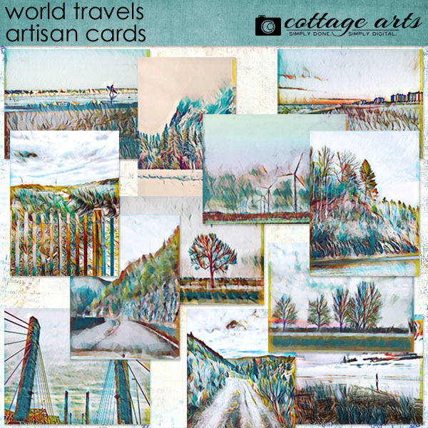 World Travels Artisan Cards Digital Art - Digital Scrapbooking Kits