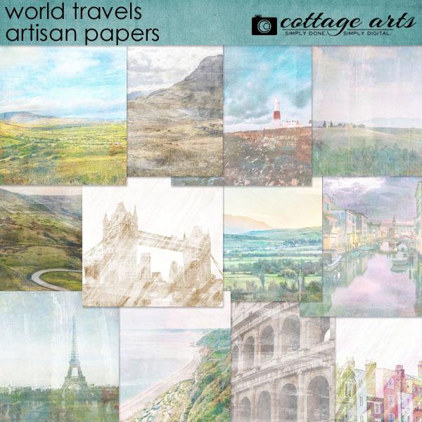 World Travels Artisan Papers Digital Art - Digital Scrapbooking Kits