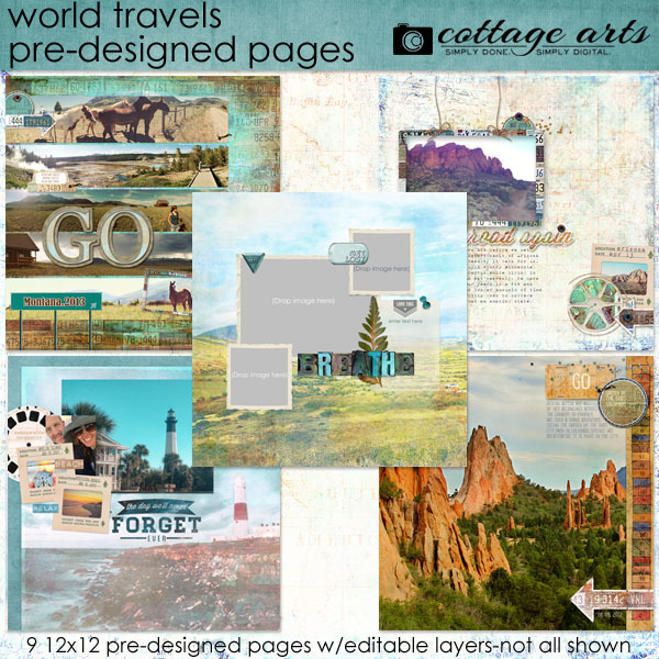 World Travels Pre-designed Pages Digital Art - Digital Scrapbooking Kits