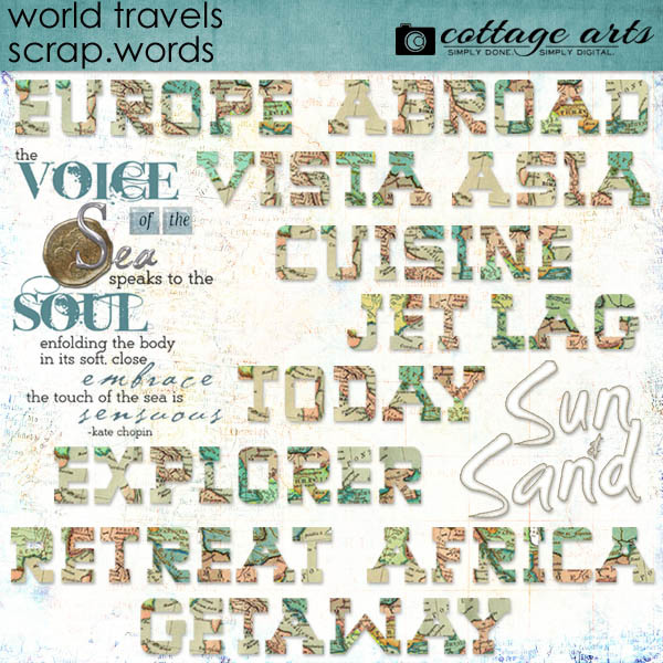 World Travels Scrap.words Digital Art - Digital Scrapbooking Kits