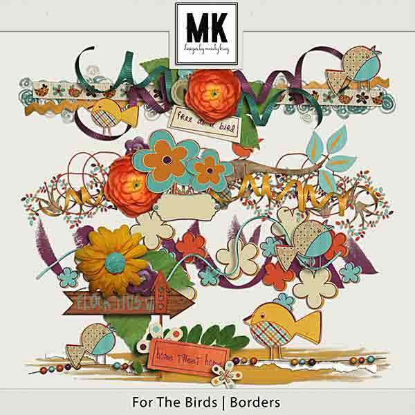 For The Birds - Individual Parts - Borders Digital Art - Digital Scrapbooking Kits
