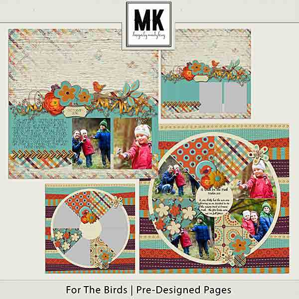 For The Birds - Individual Parts - Pre-designed Pages Digital Art - Digital Scrapbooking Kits