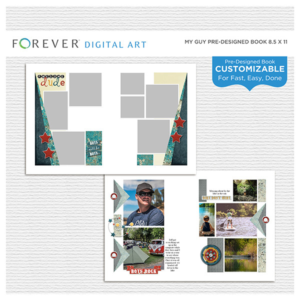 My Guy Pre-designed Book 8.5x11 Digital Art - Digital Scrapbooking Kits