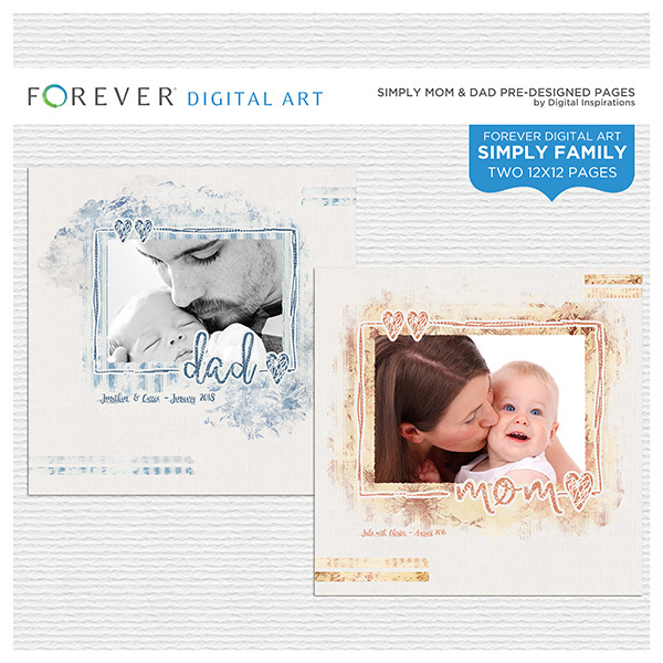 Simply Mom & Dad Pre-designed Pages Digital Art - Digital Scrapbooking Kits