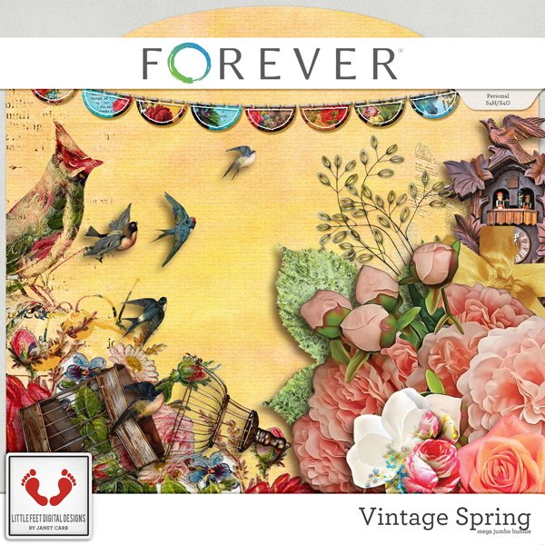 Vintage Spring Jumbo Mega Bundle Digital Art - Digital Scrapbooking Kits