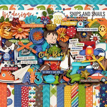 Snips And Snails Digital Art - Digital Scrapbooking Kits