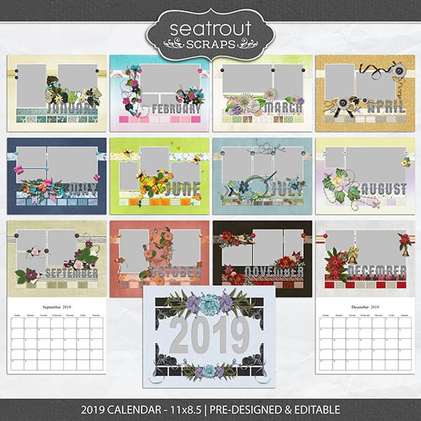 2019 Calendar 11x8.5 Pre-designed & Editable Digital Art - Digital Scrapbooking Kits