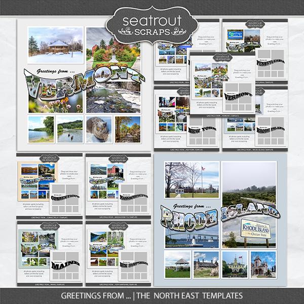 Greetings From ... The North East Templates Digital Art - Digital Scrapbooking Kits